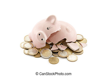 Broken piggy bank with Euro coins on white background with clipping path