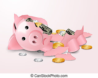 Sad broken piggy bank money safe box with dollar banknotes and coins concept vector illustration