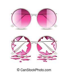 Broken pink glasses isolated on white vector