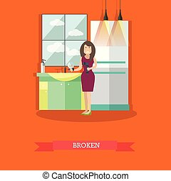 Broken pipe repair concept vector illustration in flat style...