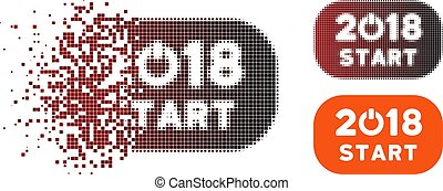 Broken Pixel Halftone 2018 Start Button Icon