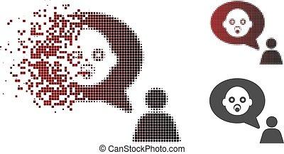 Broken Pixel Halftone Baby Thinking Person Icon