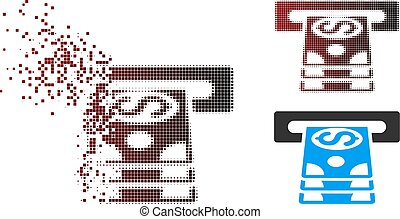 Broken Pixel Halftone Bank Cashpoint Icon - Vector bank...