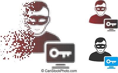 Broken Pixel Halftone Computer Hacker Icon