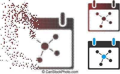 Broken Pixel Halftone Connections Calendar Day Icon - Vector...
