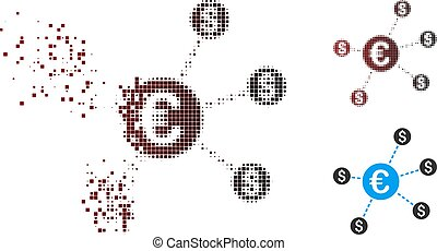 Broken Pixel Halftone Currency Network Nodes Icon