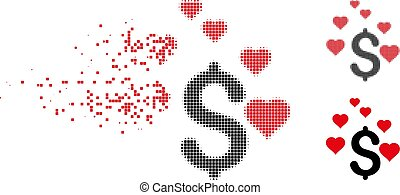 Broken Pixel Halftone Dollar Love Hearts Icon - Dollar love ...