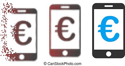 Broken Pixel Halftone Euro Mobile Payment Icon