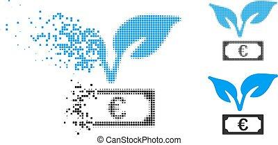 Broken Pixel Halftone Euro Startup Sprout Icon