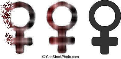 Broken Pixel Halftone Female Symbol Icon