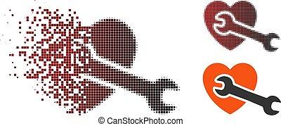 Broken Pixel Halftone Heart Surgery Icon