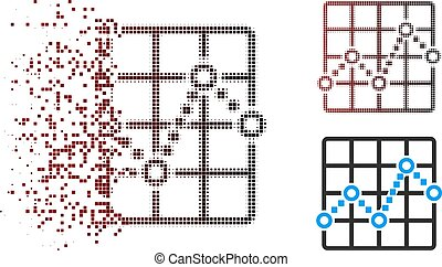 Broken Pixel Halftone Line Plot Icon