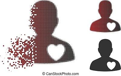 Broken Pixel Halftone Male Love Heart Icon