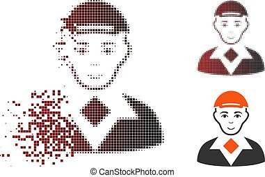 Broken Pixel Halftone Man Icon