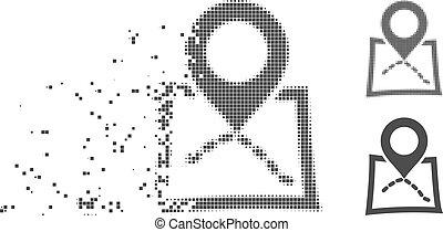 Broken Pixel Halftone Map Marker Icon