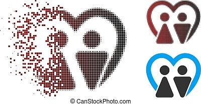 Broken Pixel Halftone Marriage Icon