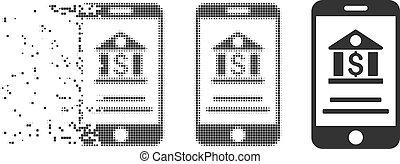 Broken Pixel Halftone Mobile Banking Icon