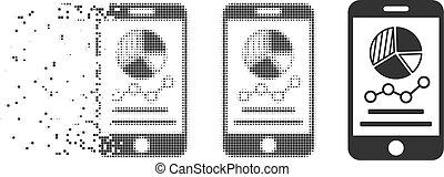 Broken Pixel Halftone Mobile Graphs Icon