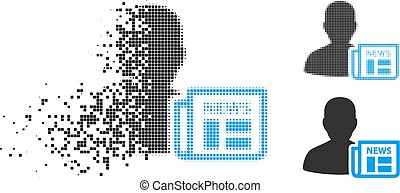 Broken Pixel Halftone Newsmaker Newspaper Icon - Newsmaker ...