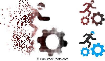 Broken Pixel Halftone Running Developer Over Gears Icon