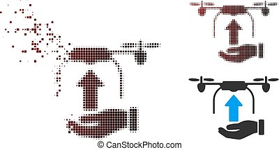 Broken Pixel Halftone Send Drone Hand Icon