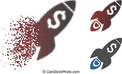 Broken Pixel Halftone Startup Rocket Launch Icon