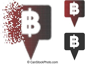 Broken Pixel Halftone Thai Baht Map Pointer Icon - Thai Baht...