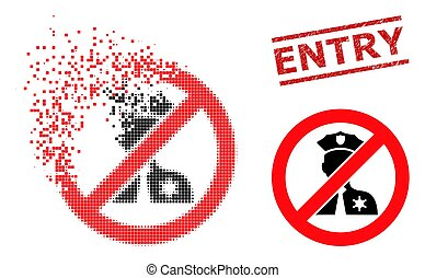 Broken Pixel No Entry Police Icon and Textured Entry Stamp