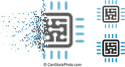 Broken Pixelated Halftone CPU Circuit Icon