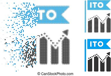 Broken Pixelated Halftone ITO Chart Icon - ITO chart icon in...