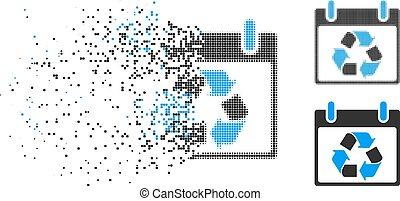 Broken Pixelated Halftone Recycle Calendar Day Icon -...