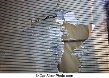 Broken plastic window