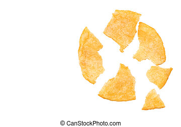 broken potato chips isolated on white background, top view