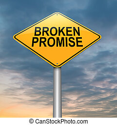 Broken promise concept. - Illustration depicting a roadsign...