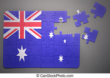 puzzle with the national flag of australia