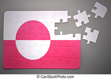puzzle with the national flag of greenland