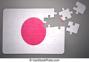 puzzle with the national flag of japan