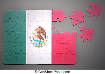 puzzle with the national flag of mexico