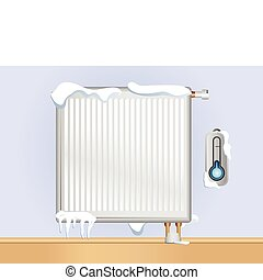 Broken Radiator with snow and ice. Editable Vector