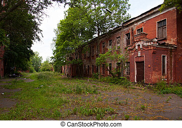 broken red brick barracks