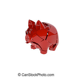 broken red ceramic piggy bank, isolated on white