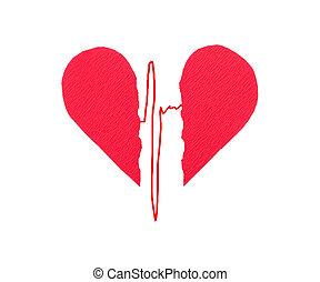 Broken red heart with ECG