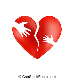 Broken red heart with hands of adult and child on it, isolated on wite background