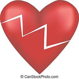 Broken red love heart