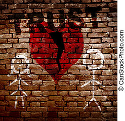 Broken red trust heart