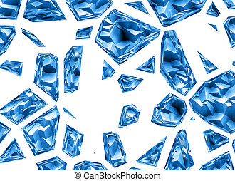 broken relief blue crystal backgrounds with clipping path