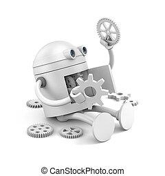 Broken robot considers the details of its mechanism for your...