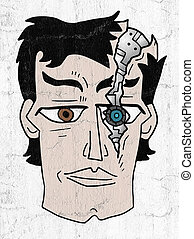 broken robot face