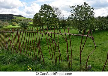 Broken Rod Iron Spike Fence Around a Field