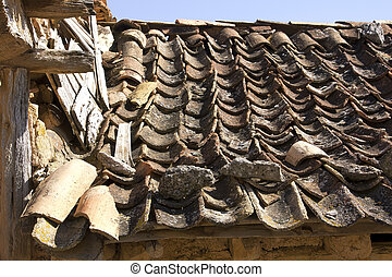 broken roof in old abandoned house